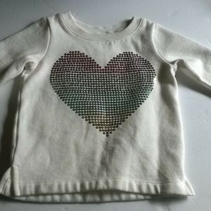 CARTER SEQUIN HEART Cream Pullover Sweatshirt 12 M